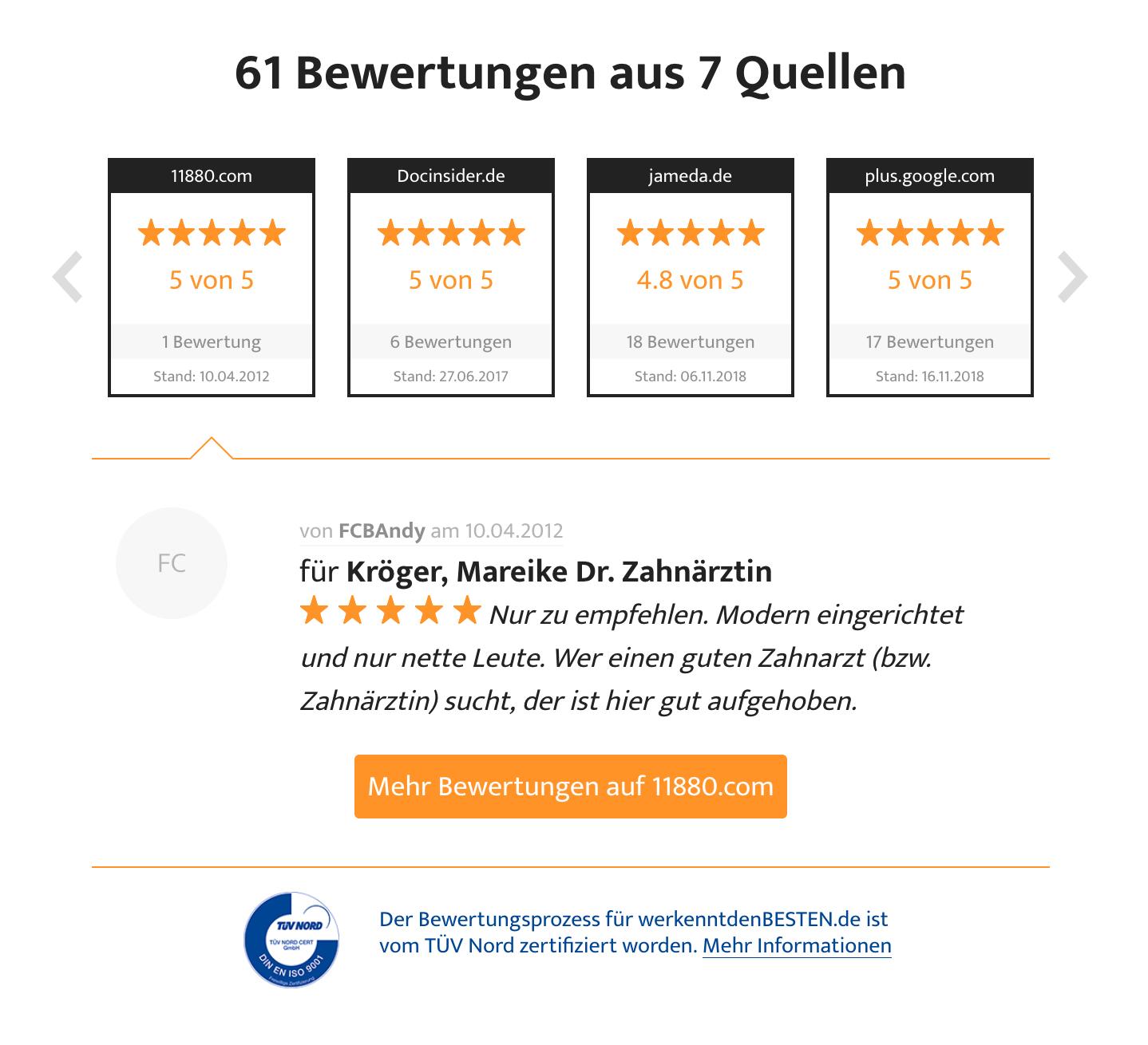 Bewertungen für unsere Zahnarztpraxis aus Straubing